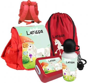 Kindergartenrucksack rot CHiCO Einhorn mit Wunschname