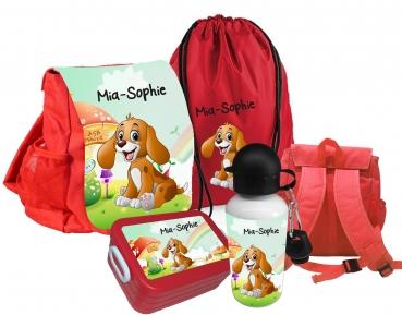Kindergartenrucksack rot CHiCO Hund mit Wunschname